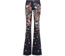 Mid-rise embellished flared jeans