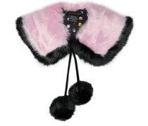 Pompom-embellished two-tone faux shearling collar