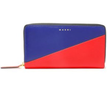 Woman Two-tone Leather Continental Wallet Red