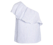 Calla one-shoulder ruffled striped linen and cotton-blend top