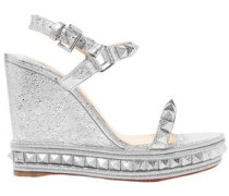 Spiked Metallic Cracked-leather Platform Wedge Sandals Silver