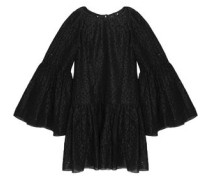 Broderie anglaise cotton and silk-blend organza mini dress