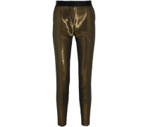 Satin-trimmed Metallic Crepe Skinny Pants Brass