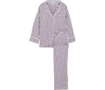 Marina Checked Cotton-poplin Pajama Set Off-white