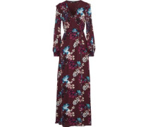 Floral-print Silk Crepe De Chine Maxi Wrap Dress Burgundy