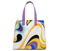 Leather-trimmed printed satin tote