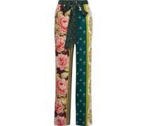 Woman Printed Silk Wide-leg Pants Green