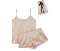 Alexy Polka-dot Silk-satin Pajama Set Blush