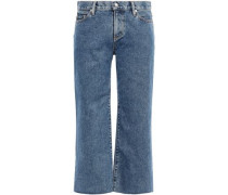 Woman Cropped Mid-rise Straight-leg Jeans Mid Denim