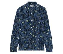 Printed Silk Crepe De Chine Shirt Blue