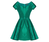 Flared pleated duchesse silk-satin mini dress