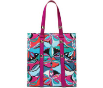 Leather-trimmed Printed Satin-twill Tote Magenta Size --