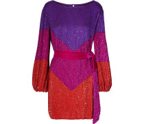 Woman Grace Velvet-trimmed Sequined Chiffon Mini Dress Multicolor