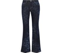 Leopard-print Mid-rise Bootcut Jeans Dark Denim