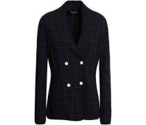 Double-breasted Checked Crepe Blazer Midnight Blue