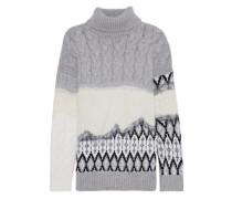 Cable Knit-paneled Wool-jacquard Turtleneck Sweater Gray