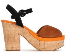 Color-block Suede Platform Sandals Brown