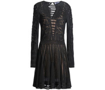 Pleated crochet and pointelle-knit mini dress