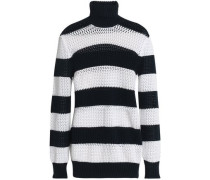 Open-knit striped cotton-blend turtleneck sweater