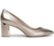 Metallic Leather Pumps Platinum