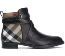 Leather And Jacquard Ankle Boots Black