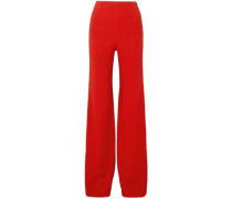 Axon Stretch-crepe Wide-leg Pants Red Size 16