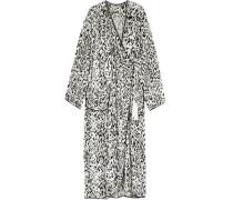 Leopard-print Velvet Robe White