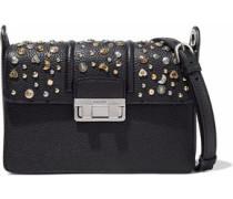 Studded pebbled leather shoulder bag