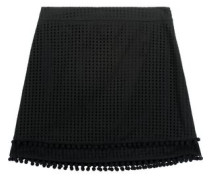 Pompom-embellished broderie anglaise cotton mini skirt