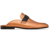 Metallic Leather Slippers Copper