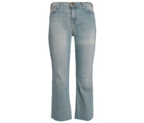 Cropped Faded High-rise Slim-leg Jeans Light Denim  5