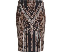 Leopard-print crepe skirt