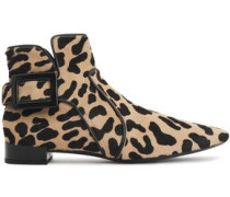 Buckled leopard-print calf hair ankle boots