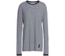 Appliquéd striped linen-blend jersey top