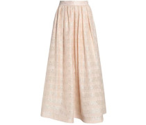 Sequin-embellished embroidered gauze maxi skirt