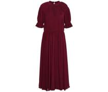 Ruffle-trimmed Gathered Cloqué Midi Dress Burgundy