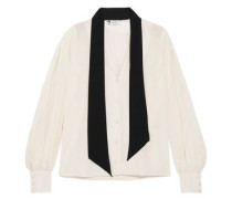 Pussy-bow Two-tone Silk Crepe De Chine Blouse Ivory