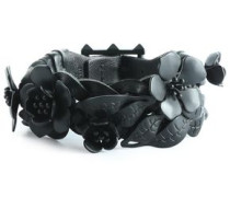 Floral-appliquéd braided leather bracelet