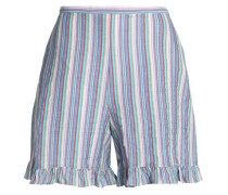 Ruffle-trimmed striped cotton-blend seersucker shorts
