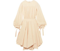 Gathered Crepe Mini Dress Cream