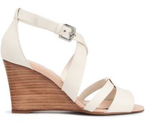 Woman Leather Wedge Sandals White