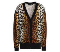 Leopard-print wool-blend cardigan