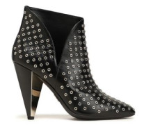 Eyelet-embellished Leather Ankle Boots Black