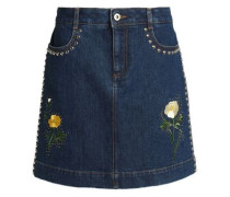 Studded embroidered denim mini skirt