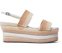 Leather-trimmed woven platform sandals