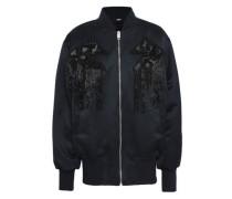 Embellished appliquéd satin bomber jacket