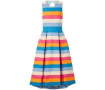 Woman Tie-back Striped Cotton-blend Midi Dress Blue