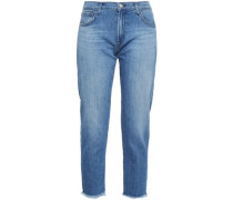 Distressed Low-rise Slim-leg Jeans Mid Denim  6