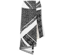 Lumieres Asymmetric Tasseled Printed Silk Crepe De Chine Skirt Black