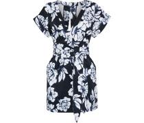Woman Luciano Wrap-effect Floral-print Faille Mini Dress Black